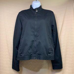 Volcom Frochickie Jacket Black Snap Tab Collar Zipper Lightweight Women's Large